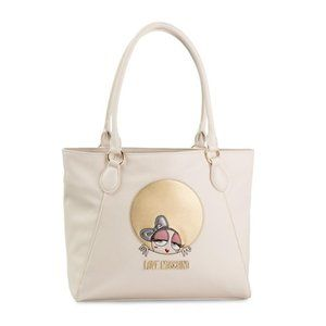 Love Moschino White Leather Embroidered Tote Bag
